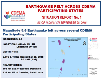 CDEMA Situation Report #1 - Earthquake felt across CDEMA Participating States as of 11:00AM (AST) on September 28, 2018